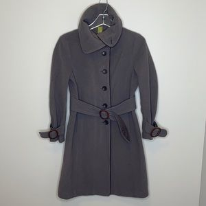 Soia & Kyo taupe grey merino wool blend belted high neck coat L